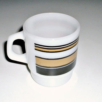 Vintage Fire King  Super Stripes  Mug 1960s Anchor Hocking Stacking Coffee Cup