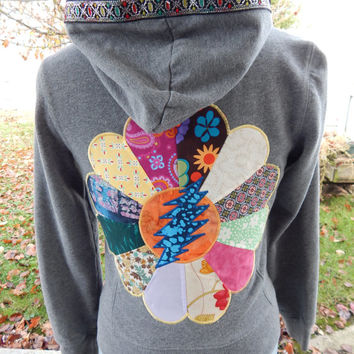 Upcycled Zip Up Hoodie Gray Patchwork Mandala Grateful Dead 13 Point Bolt OOAK Womens Size S Small Hippie clothes, upcycled hoodie,