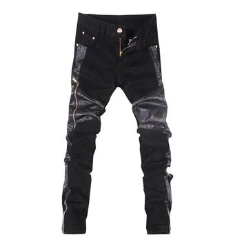 Hot sale free shipping casual slim fit mens leather pants motorcycle jeans trousers Black 28-34 C107