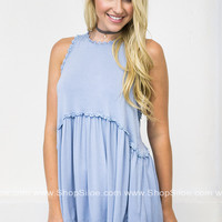 Faded Babydoll Top | Baby Blue