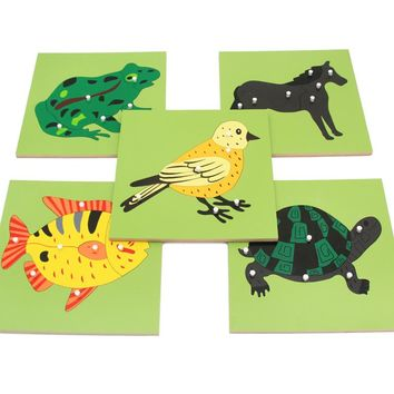 2017 New Arrival Montessori Materials Educational Toys Animals Plants Panel Wood Toys Learning Tangram/Jigsaw Childrens Day Gift