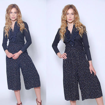 Vintage 90s POLKA DOT Palazzo Pants PRINTED Rayon Pants Casual Fit Crop Pants Wide Leg Palazzo Pants
