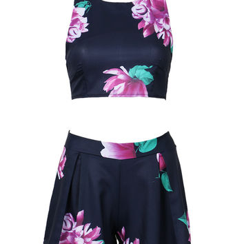 Blue Back Strap Cross Floral Print Crop Top With High Waist Shorts