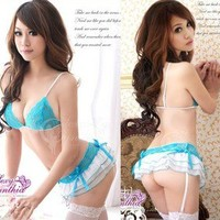 Sexy Lingerie Costume Bikini-style top+skirts+garters+G-string +stocking dress