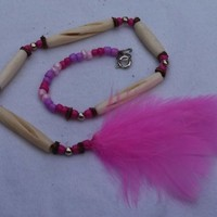 Pink Beads, and hair-pipe Native American Choker Style Car Charm