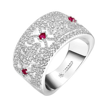 2017 New Crystal Rings For Women White Rhinestone 925 stamped silver plated Wedding Female Flower Rings Teen Jewelry