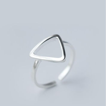 Sterling-Silver-Jewelry Adjustable Geometric Triangle Rings for Women Wedding Gift