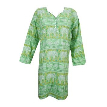 Mogul Indian Ethnic Rayon Printed Kurti Casual Party Wear Kurta Tunic Dress - Walmart.com
