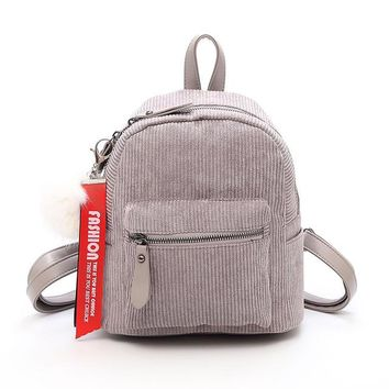 School Backpack trendy Korea high quality Soft Cloth Backpack female corduroy Design  for teens girls striped backpack For women M183 AT_54_4