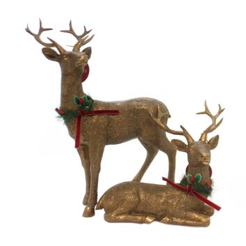 Christmas GOLD DEER FIGURINES Polyresin Antlers 2020180184