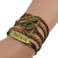 jeansian Women's Believe English Hand Woven Bracelets WCE032