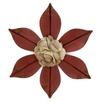 Flower Metal Wall Decor with Cloth Center | Hobby Lobby