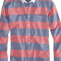 AEO Men's Bold Stripe Button Down (Red)