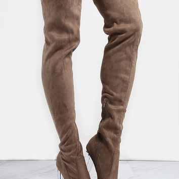 Faux Suede Perspex Heel Tall Boots TAUPE