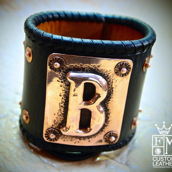 Leather wrist cuff Bracelet hand hammered Copper Initial and sterling silver concho Chase/Repousse Handmade for YOU in NYC by Freddie Matara