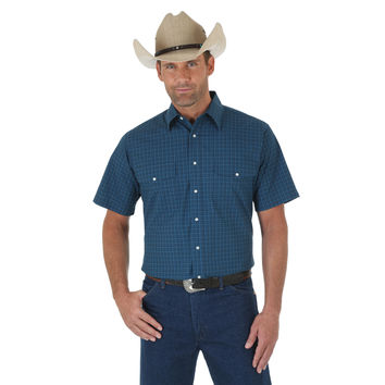 Wrangler Mens Wrinkle Resist Short Sleeve Western Plaid Shirt