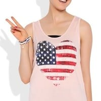 High Low Tank Top with American Flag Heart and Happy Quote