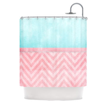 "Ingrid Beddoes ""Light Chevron Pink & Turquoise"" Blush Aqua Shower Curtain"
