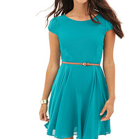 LOVE 21 Georgette Skater Dress Teal