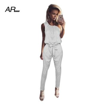 AR Fashion Long Pants Jumpsuits Women Sleeveless O-Neck Bandage Strappy Casual Jumpsuit Summer Solid Ankle-Length Pants Jumpsuit