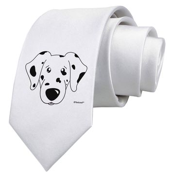 Cute Dalmatian Dog Printed White Necktie by TooLoud