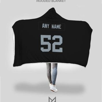 Oakland Raiders Hooded Blanket - Personalized Any Name & Any Number