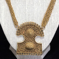 Boho Etruscan Style Pendant Necklace Antiqued Gold Tone Multi Chain Unsigned Vintage Mid Century Jewelry 618m