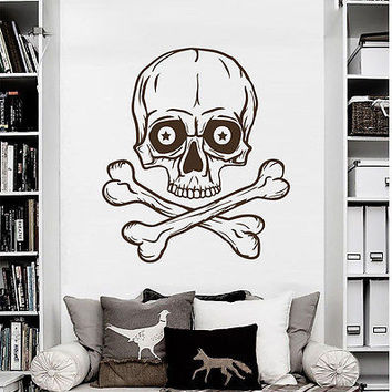 Wall Decals Skull Horror Bones Pirate Decal Home Living Room Vinyl Decor MR579
