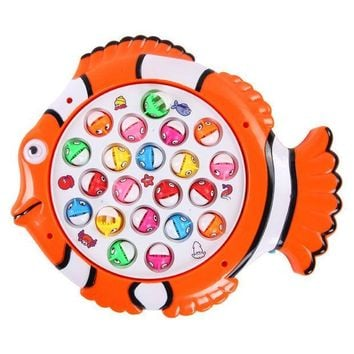 ICIK272 Plastic Electric Rotating Magnet Fishing Game Kid Children Educational Toy Puzzle Toy Electric Music Plate Game T30