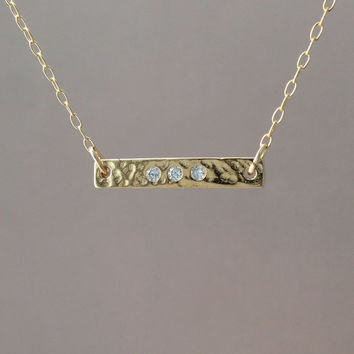 Three Crystal Gold Sideways Bar Necklace