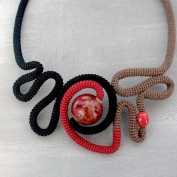 Abstract Necklace, Crochet Tube Necklace, Modern Art Necklace Black Red Brown