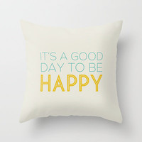 HAPPY Throw Pillow by Allyson Johnson