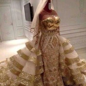 Royal Michael Cinco wedding dress gorgeous train gold embroidery