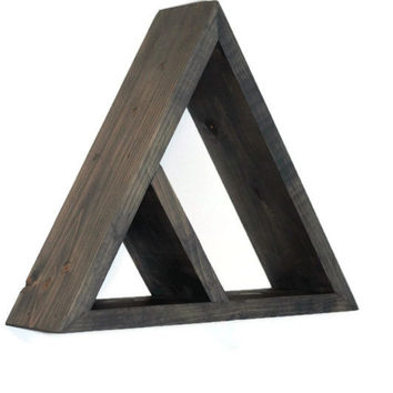 Geometric Shelf Shadow Box Wood Shelf Abstract Triangle Design, Handmade Wooden Modern Minimalist Rustic Primitive Wall Decor FAST SHIPPING!