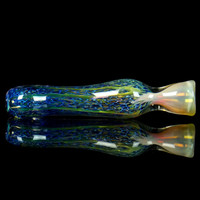 Blue Frit Gold Fumed Chillum