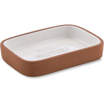 CP Brick Rectangular Soap Dish Holder Tray Soap Holder, Ceramic