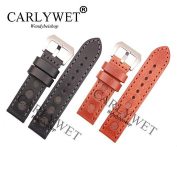 CARLYWET 24mm Men Women Black Brown Real Leather Handmade Thick Wrist Watch Band Band Strap Belt Brushed Pre-V Screw Buckle