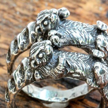 Otters holding hands rings  Sterling silver Blue Bayer Design NYC