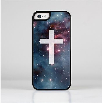 The Vector White Cross v2 over Bright Pink Nebula Space Skin-Sert Case for the Apple iPhone 5c