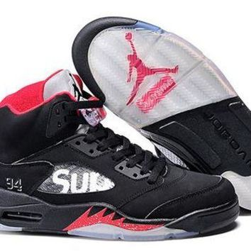 PEAPVX Nike Air Jordan Retro 5 V Superme Black AJ5 Discount Women Sports Basketball Shoes Sale Online