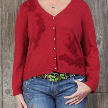 Nice J Jill Cardigan Sweater L XL size Red Embroidered Womens Vneck Soft Blend