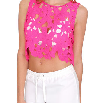 Loving You Lace Crop Top - Pink