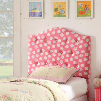 Juvenile Pink & White Dot Twin Tufted Headboard