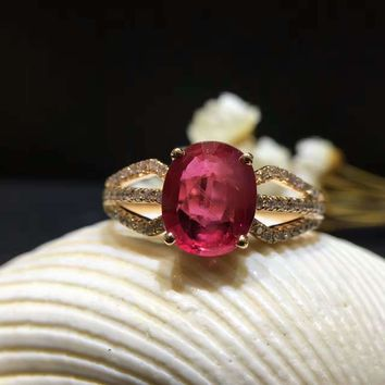 18K Gold 2.006ct Natural Ruby Women Ring with 0.183ct Diamond Setting 2016 New Fine Jewelry Wedding Band Engagement
