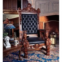 Fitzjames Royalty King Queen Handcarved Wood Throne Chair 67H