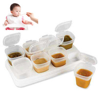 8pcs BPA Free Baby Weaning Food Freezing Cubes Pots Freezer Storage Containers Freezing And Heating Multi-Function Food Tray