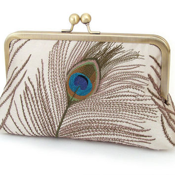 Clutch bag, peacock feather, wedding purse, bridesmaid gift, embroidered silk