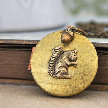 TINY SQUIRREL vintage 70s raw brass locket by plasticouture