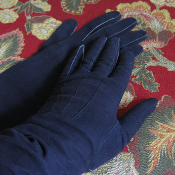 Vintage 1950s Suede Gloves Eatons Navy Blue Suede Long Leather Gloves 7 1/4 Made in France