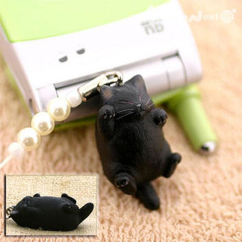Pet Lovers Rare Hand-Made Cat Beads Cell Phone Strap and Charm Cuddling Black - 123-N-2305